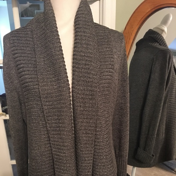 INC International Concepts Sweaters - Gorgeous heavy open gray sweater w/cable detail